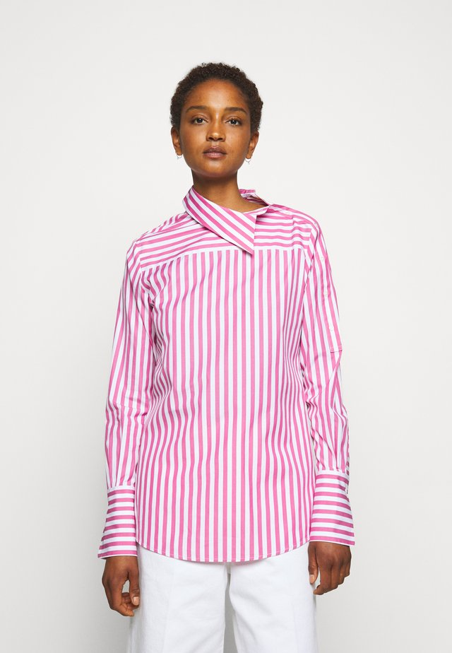 ASYMMETRIC BROAD STRIPE - Blouse - pink/white