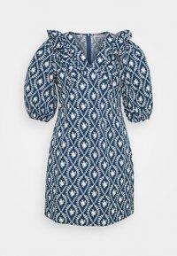 Glamorous Curve - PLEATED RUFFLE MINI DRESSES  - Robe d'été - navy/white - 0