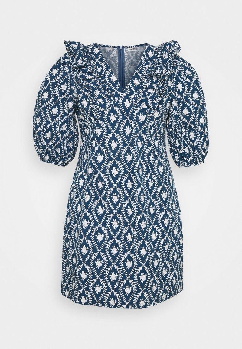 Glamorous Curve - PLEATED RUFFLE MINI DRESSES  - Robe d'été - navy/white