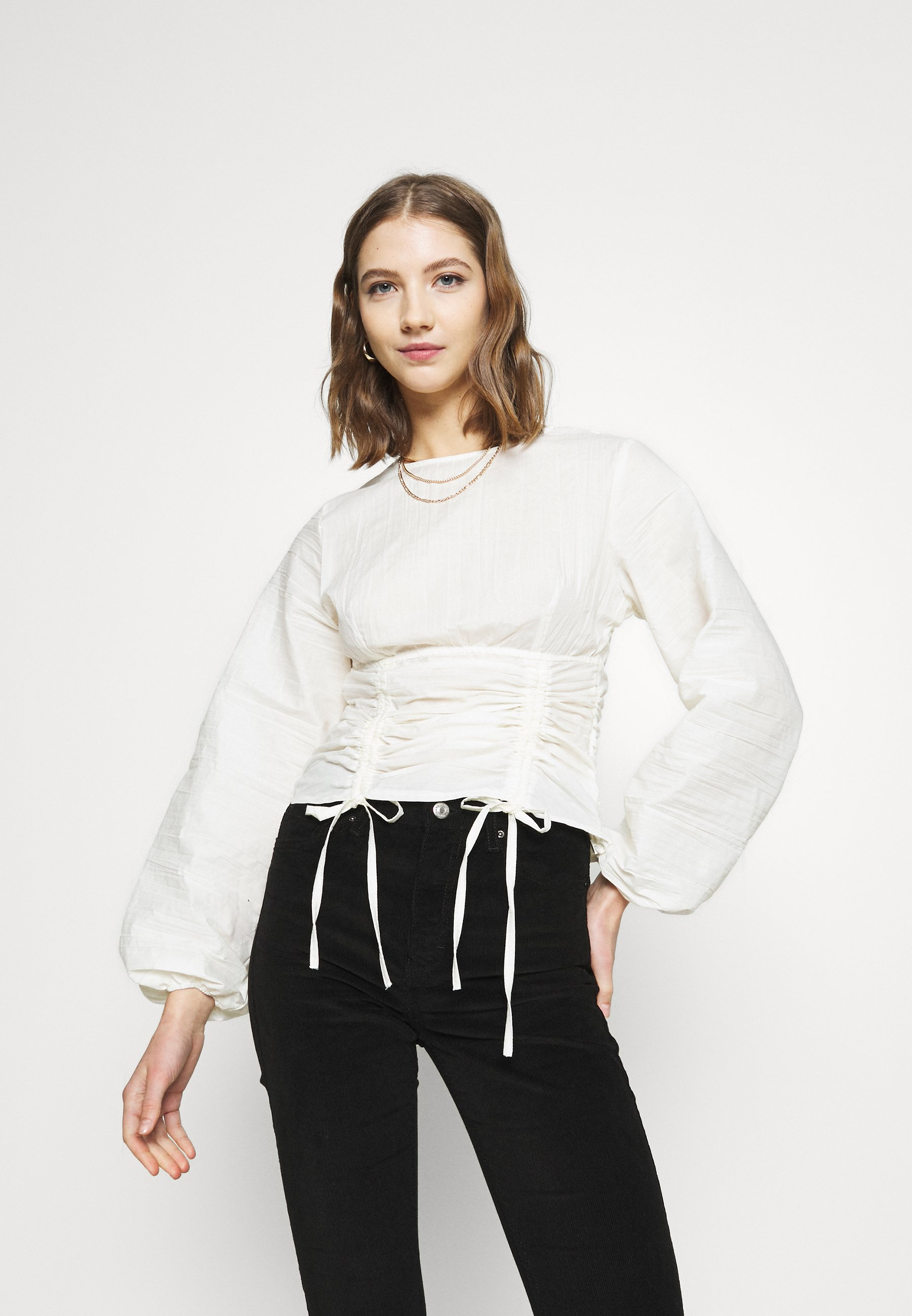 Women PREMIUM RUCHED WAIST BLOUSE - Long sleeved top