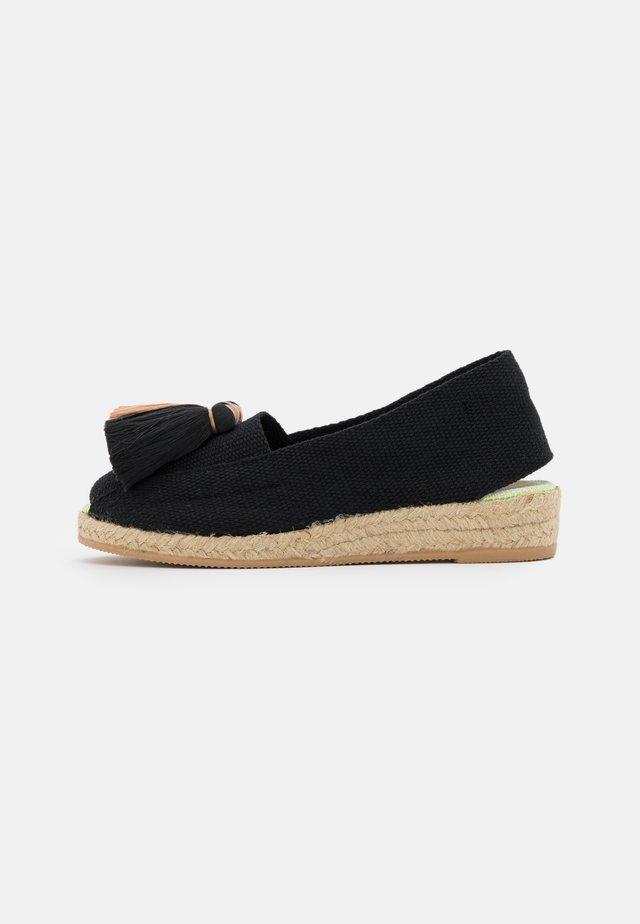 Sandály na klínu - black/beige
