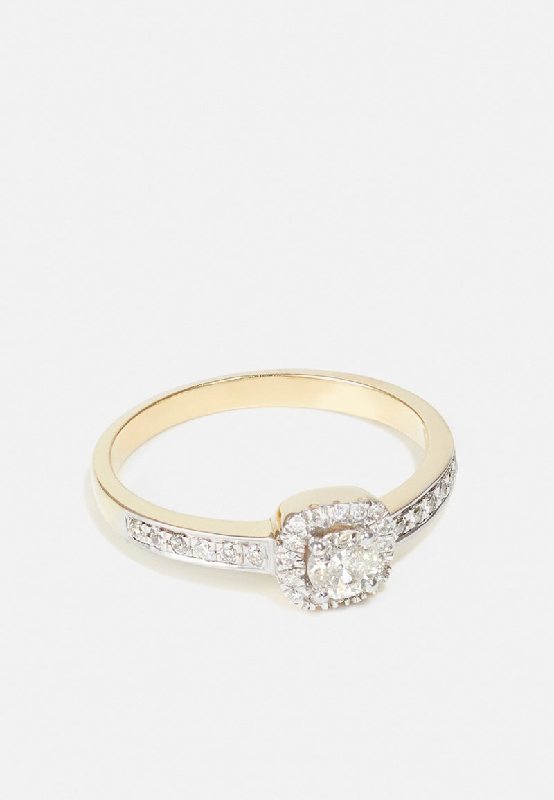 DIAMANT L'ÉTERNEL - NATURAL DIAMOND RING CERTIFIED 0.4CARAT HALO ENGAGEMENT DIAMOND RINGS 9KT YELLOW GOLD DIAMOND JEWELLERY GIFTS FOR WOMENS - Sormus - gold