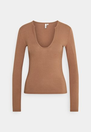 FRONT DETAIL - Long sleeved top - brown