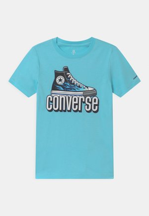 WARPED CHECKER SNEAKER  - Print T-shirt - bleached cyan