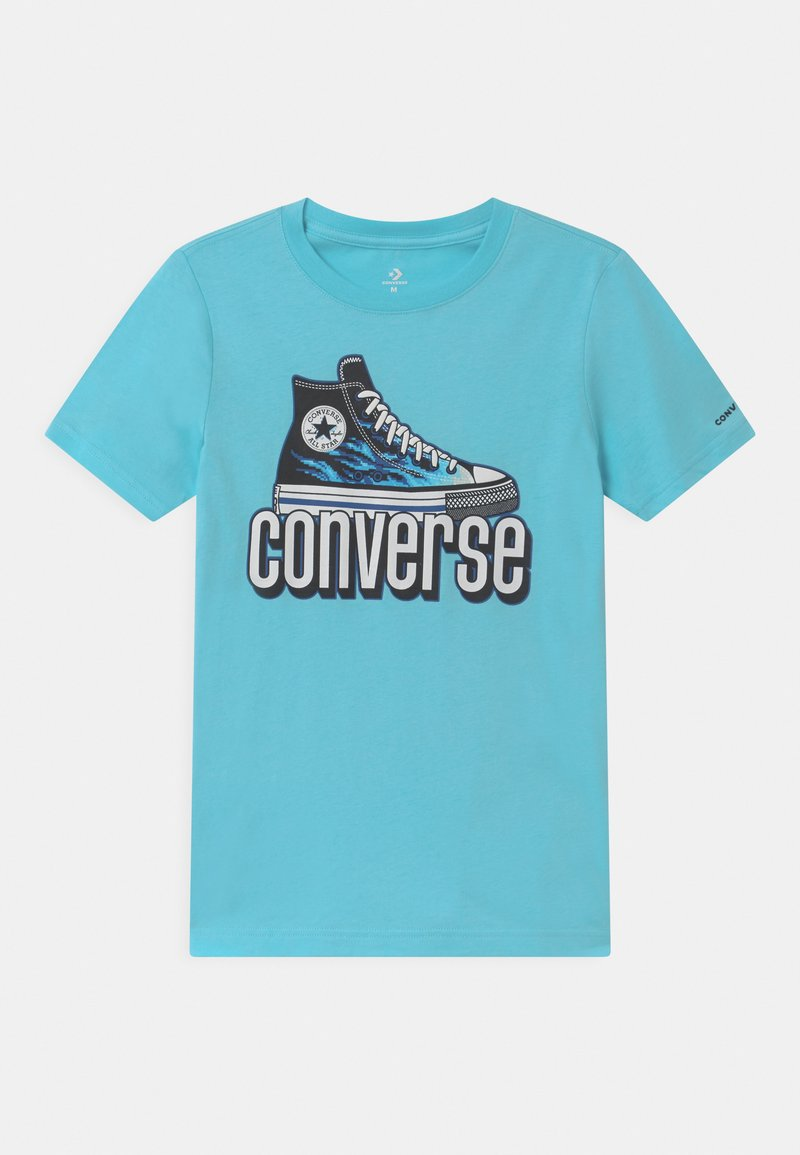 Converse - WARPED CHECKER SNEAKER  - Triko spotiskem - bleached cyan