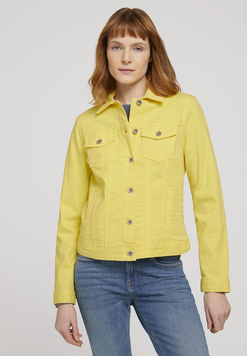 TOM TAILOR - MIT KNITTERDETAILS - Denim jacket - smooth yellow