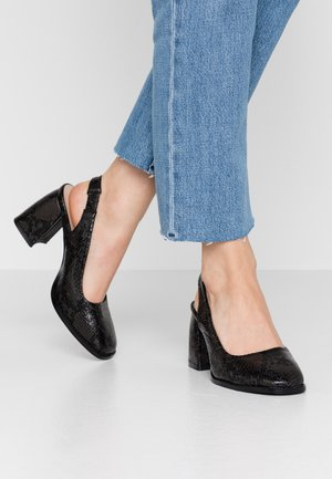 BLOCK HEEL SLING BACK SHOE - Avokkaat - black