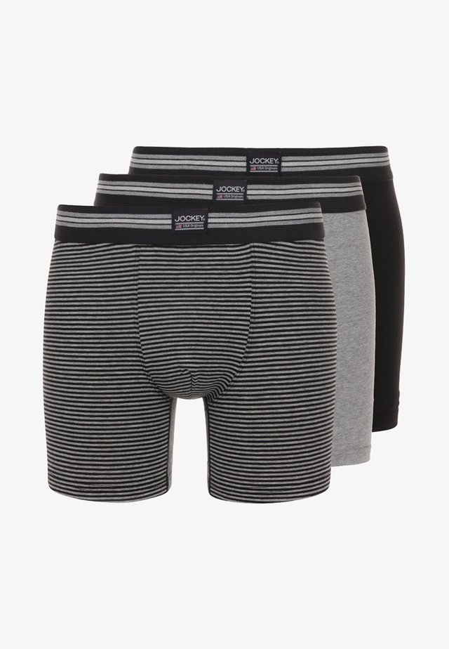 COTTON STRETCH LONG LEG TRUNK 3 PACK - Shorty - black/grey