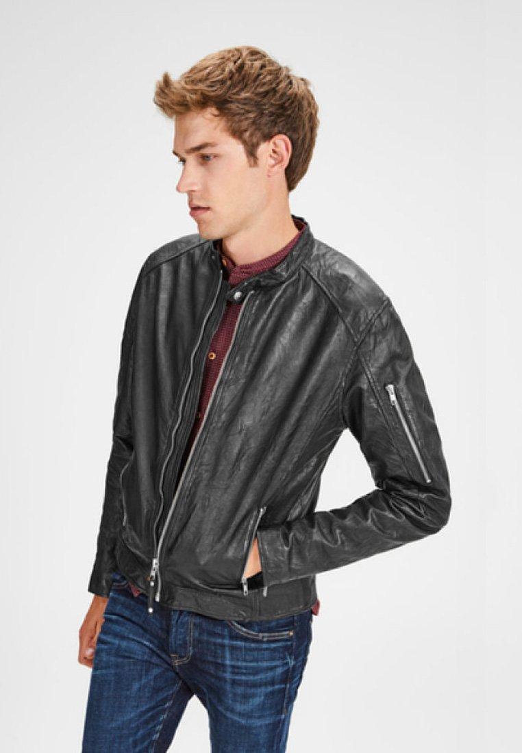 Jack & Jones - BIKER-STYLE - Leather jacket - black