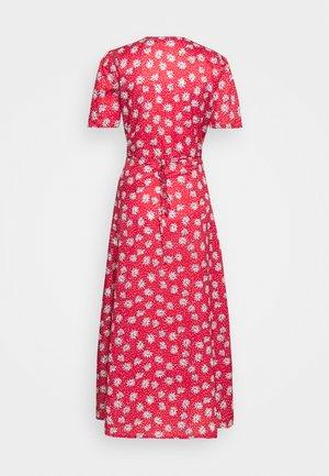 HALF BUTTON TEA DRESS - Maxi dress - red