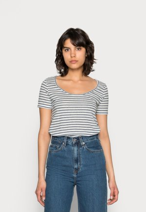 NOBEL TEE STRIPE - Print T-shirt - white/blue