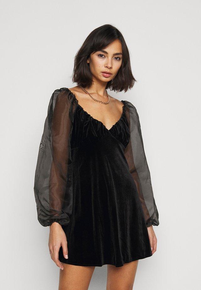 PUFF SLEEVE SKATER DRESS - Korte jurk - black