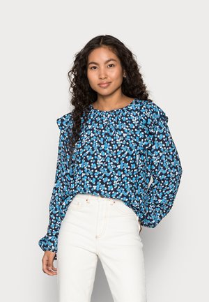 RUFFEL SHOULDER - Blouse - blue