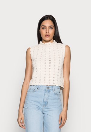 CREW NECK WITHOUT SLEEVES - Jumper - white stone