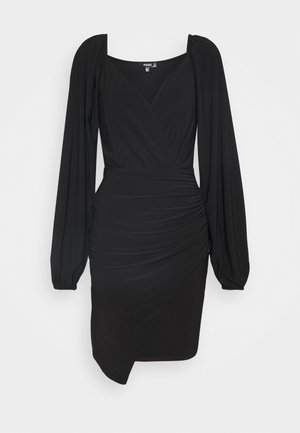 BALLOON SLEEVE SLINKY V NECK DRESS - Day dress - black