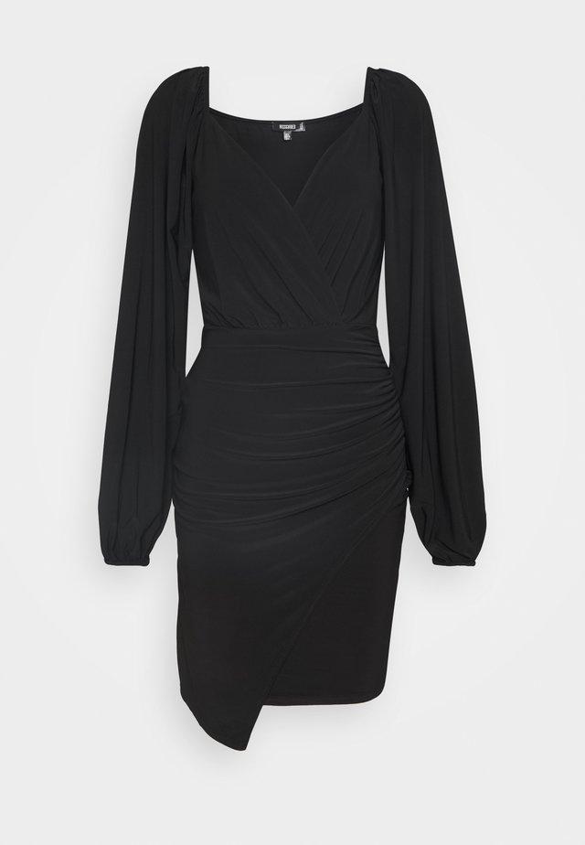 BALLOON SLEEVE SLINKY V NECK DRESS - Korte jurk - black