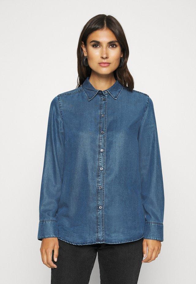 BLOUSE LONG SLEEVE - Button-down blouse - denim blue