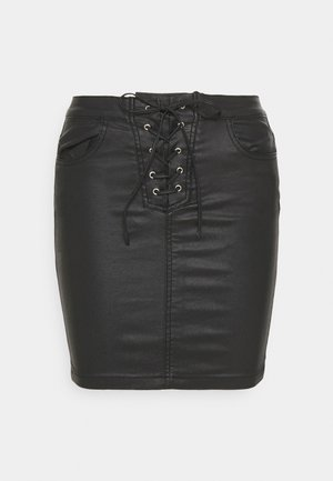 COATED LACE UP SKIRT - Mini skirt - black
