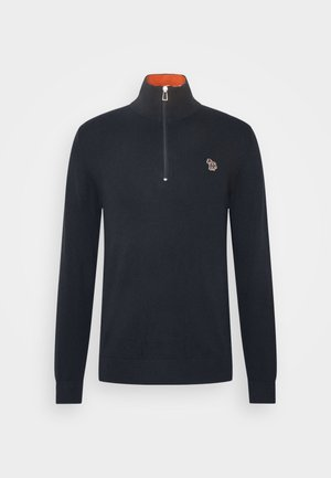 MENS ZIP NECK ZEBRA - Jumper - dark blue