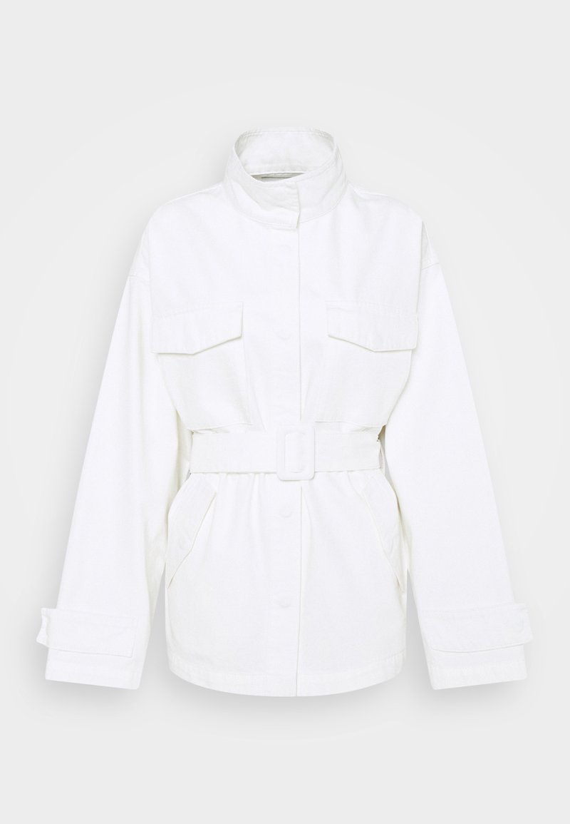 NA-KD - BELTED OVERSIZED JACKET - Denim jacket - ecru