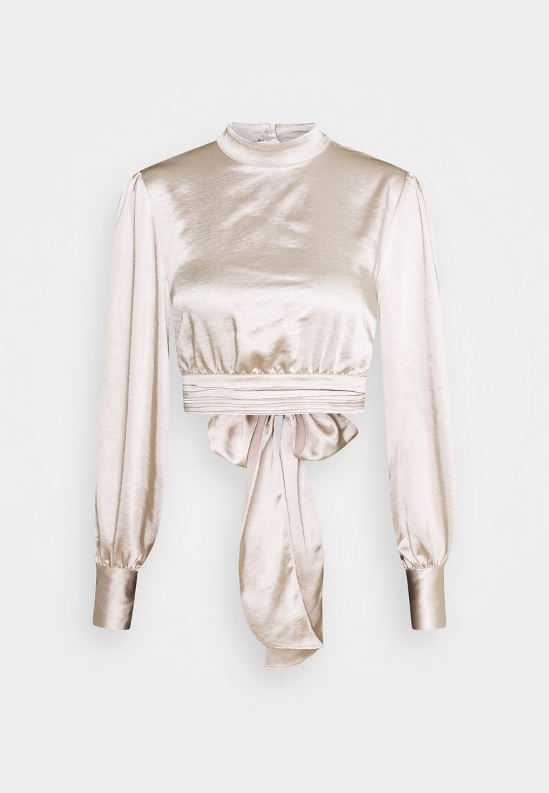 NA-KD - HIGH NECK BLOUSE - Long sleeved top - champagne