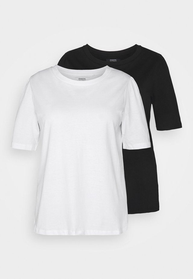2 PACK GATHERED TEES - T-shirts - black/white
