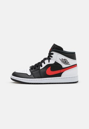 AIR JORDAN 1 MID - Höga sneakers - black/chile red/white
