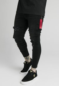 SIKSILK - DISTRESSED  WITH ZIP DETAIL - Jeans Skinny Fit - washed black - 0