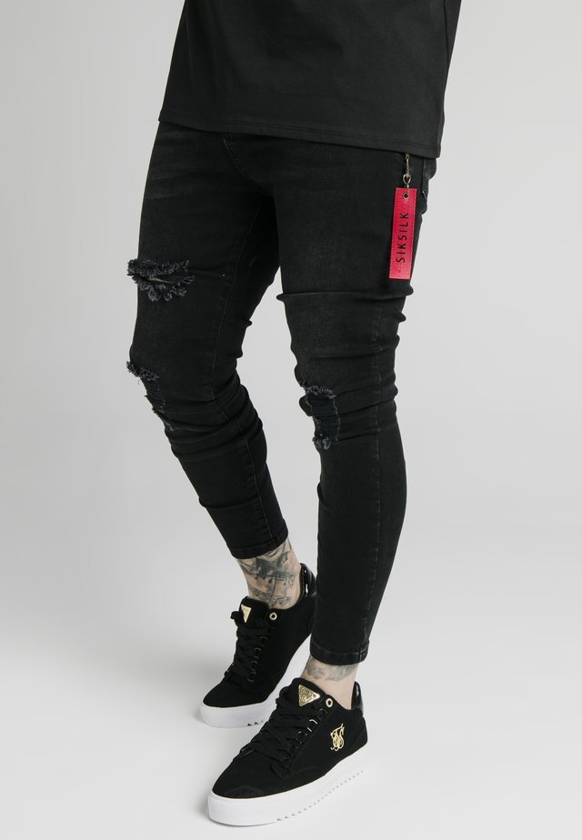 DISTRESSED  WITH ZIP DETAIL - Skinny-Farkut - washed black
