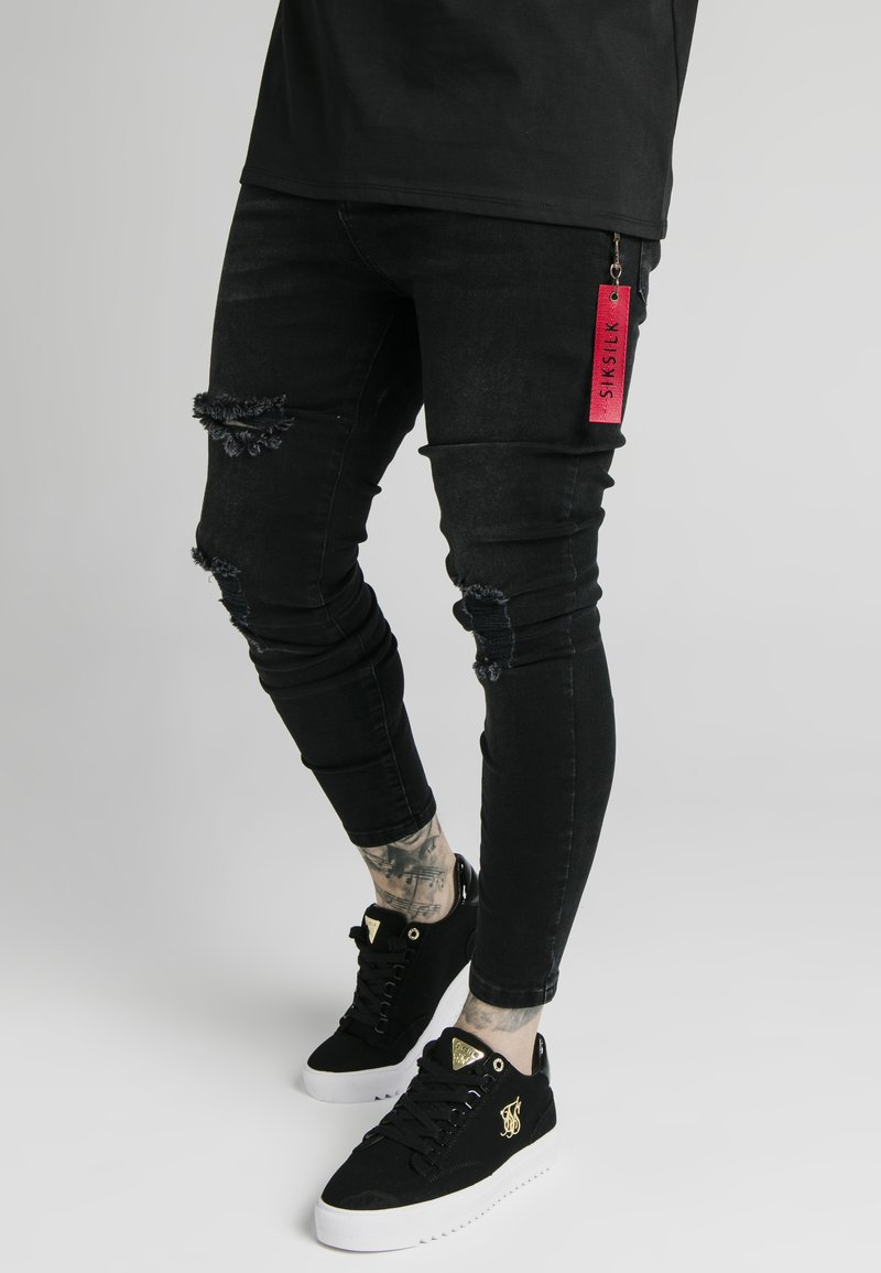 SIKSILK - DISTRESSED  WITH ZIP DETAIL - Jeans Skinny Fit - washed black