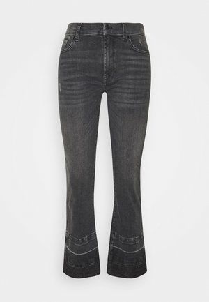CROPPED UNROLLED ILLUSION EPIC - Bootcut jeans - black
