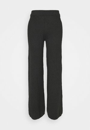 WIDE LEG SEAMLESS PANTS - Trousers - dark grey
