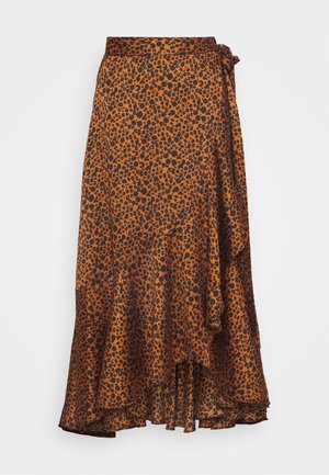 PRINTED WRAP SKIRT - Falda acampanada - brown