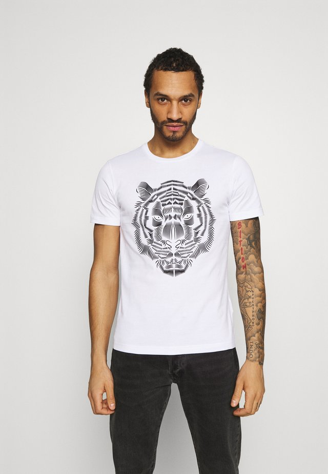 SLIM FIT WITH DOUBLE LAYER - T-shirts print - bianco