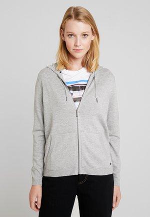 ZIP HOODED - Cardigan - light grey