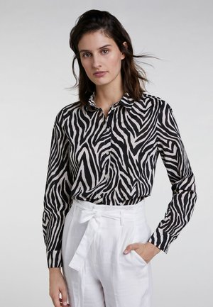 MIT ALLOVER ZEBRADRUCK - Button-down blouse - black/offwhite