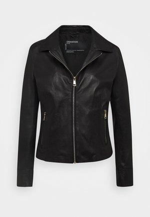 SIDE - Leather jacket - black