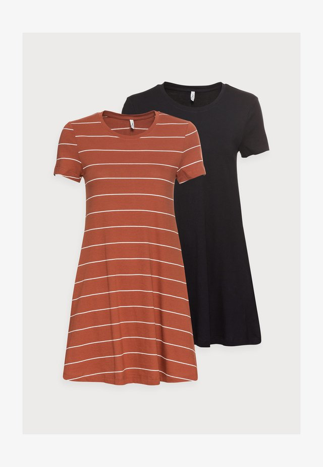 ONLMAY LIFE POCKET DRESS 2 PACK - Jerseyklänning - black/aribian