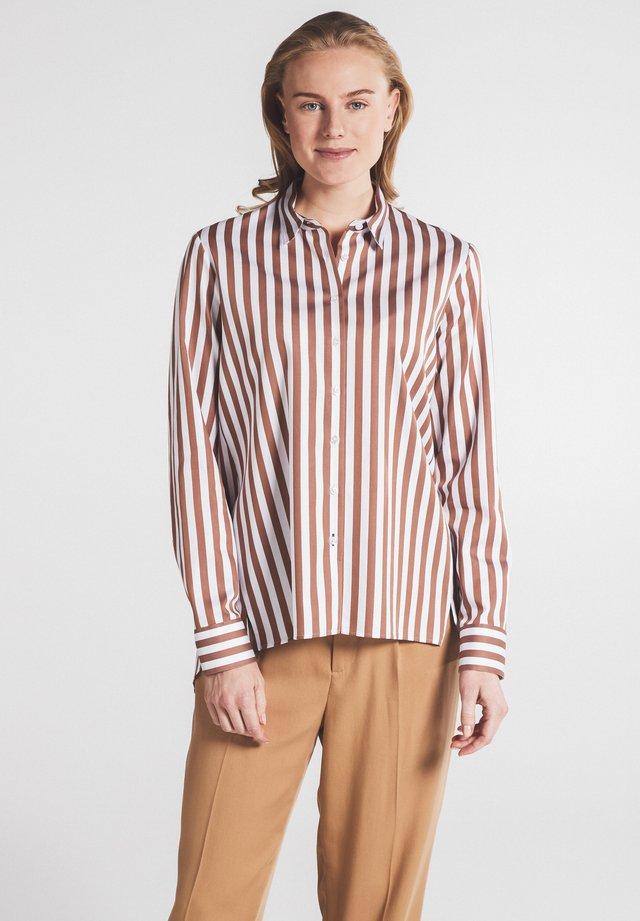 Overhemdblouse - braun weiß
