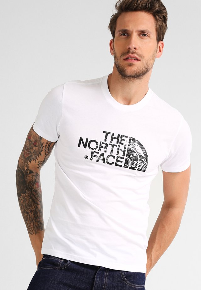 WOODCUT DOME TEE - T-shirt con stampa - white/black