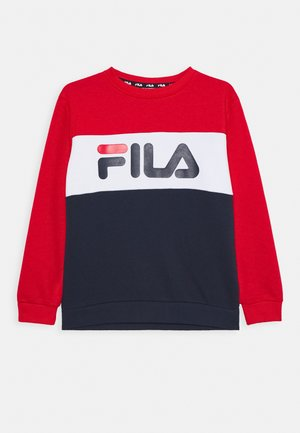 CARLOTTA BLOCKED CREW SHIRT - Sweater - black iri/true red/right white
