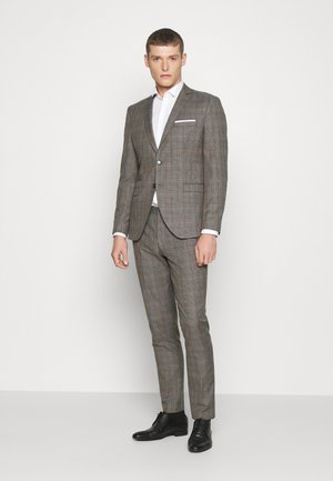 SLHSLIM CHECK SUIT SET - Garnitur - sand