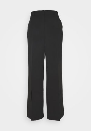 WIDE LEG SPLIT HEM - Trousers - black