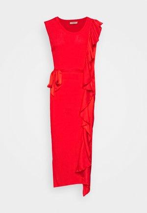 ABITO LUNGO A COSTE CON E ROUCHES - Shift dress - corallo