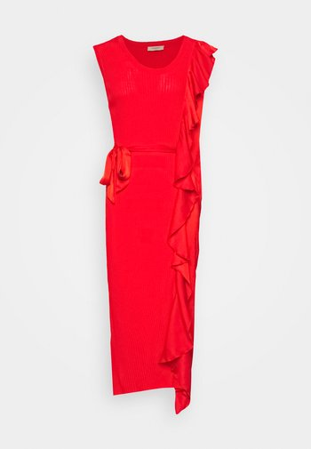 ABITO LUNGO A COSTE CON E ROUCHES - Pouzdrové šaty - corallo