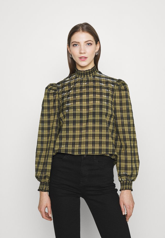 CHECK SHIRRED NECK - Blouse - green pattern