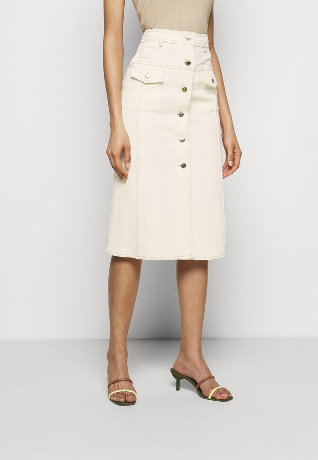BUTTON DOWN SKIRT - A-snit nederdel/ A-formede nederdele - offwhite