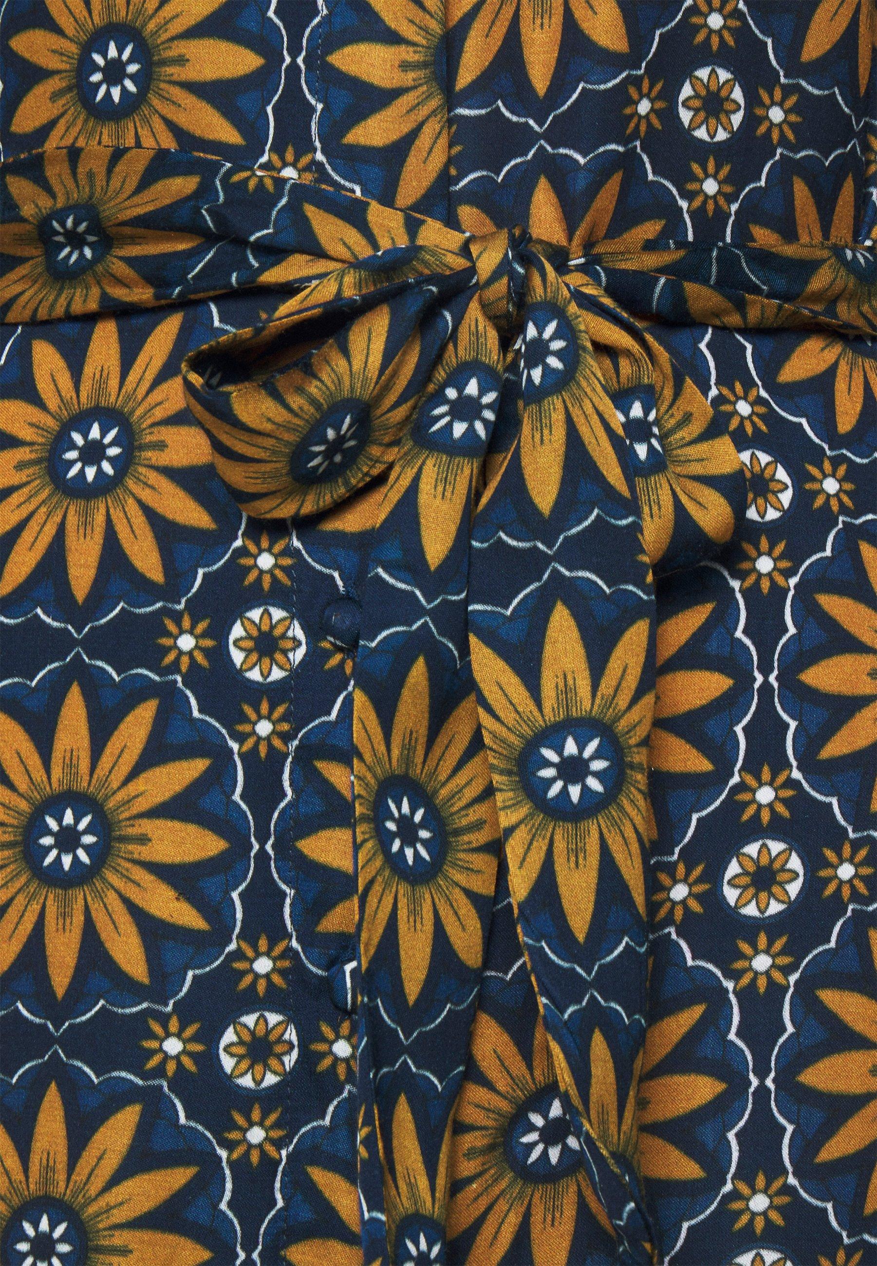 Derhy ELIXIR Blusenkleid caramel/taupe/dunkelblau