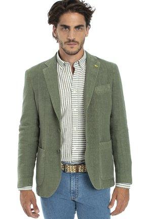 BLAZER IN LINO TINTO CAPO CON SPILLA BLAINE - blazer - verde bosco