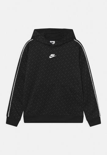 REPEAT HOODIE - Sweatshirt - black/dark smoke grey/white